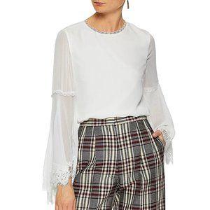 ALICE + OLIVIA Lace-trimmed silk-chiffon blouse XS